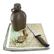 Army canteen, a knife and a compass are on the map