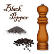 Spice Mill Grinder, whole peppercorns, ground black pepper, wood