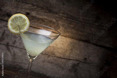 Cocktail with wooden background