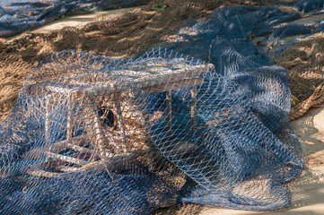 Fishing net in Cambrils harbor, Costa Dorada, Spain