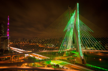 Sao Paul city bridge at night