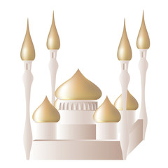 White mosque Ramadan celebration vector