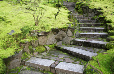 Curved garden stone stairs