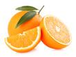 ripe oranges isolated on white background