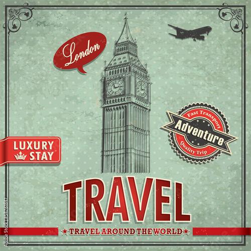 Foto op Plexiglas Op straat Vintage Big Ben Travel vacation poster
