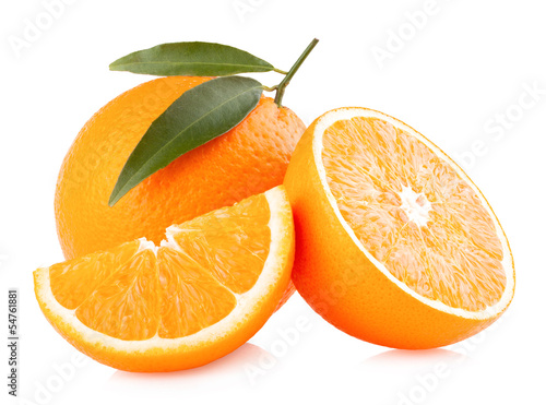 ripe oranges isolated on white background