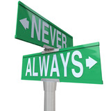Always Vs Never 2 Two Way Street Road Signs