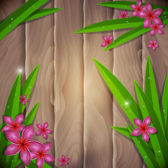 Tropical background with flowers and leafs