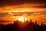Los Angeles city skyline, sunrise