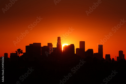 Fototapeta Los Angeles city skyline, sunrise