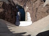 Breath taking view of the Colorado River, Hoover Dam wall lookin