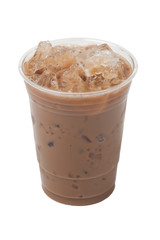 Creamy Iced Coffee Cappucino Isolation On White