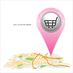 shopping,  pin pointer on map location.