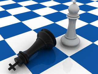 two pieces in a chess board