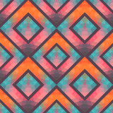 Retro seamless pattern with squares, hand drawn backdrop, mosaic