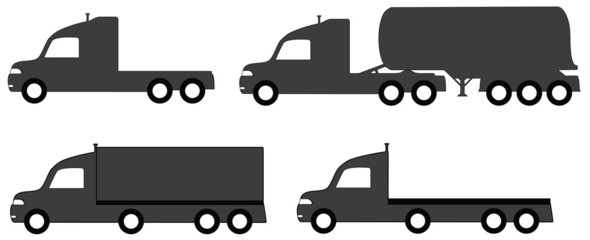 set isolated lorry with tank and body truck silhouette