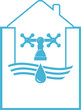 water symbol with tap and faucet in house