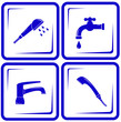 blue set water supply objects - faucet mixer, tap, valve icon