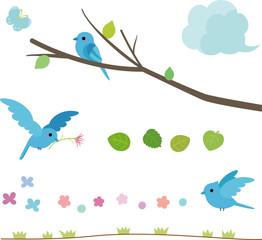 青い小鳥の素材