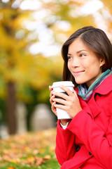 People drinking coffee - autumn woman in fall