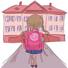 Little girl with big school bag standing towards school building