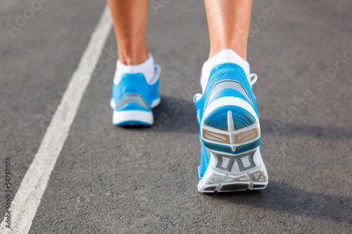 Closeup of runners shoe - running concept