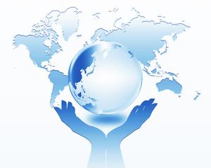 地球と手のシルエット