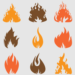 Fire icons set.Vector