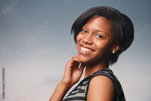 Smiling African American teenage girl