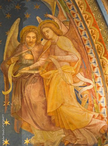 Vienna - Fresco of angels in Klosterneuburg monastery church