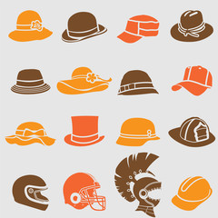 Hat icons set. Vector