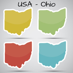 stickers in form of Ohio state, USA