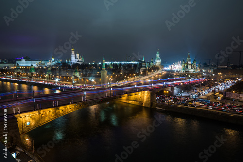 Night view of the Kremlin and bridge over the Moscow River