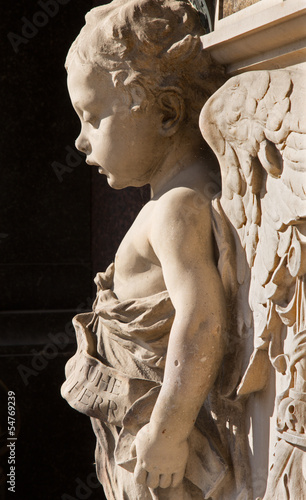Vienna - Little angel. Detail from tomb in cemetery