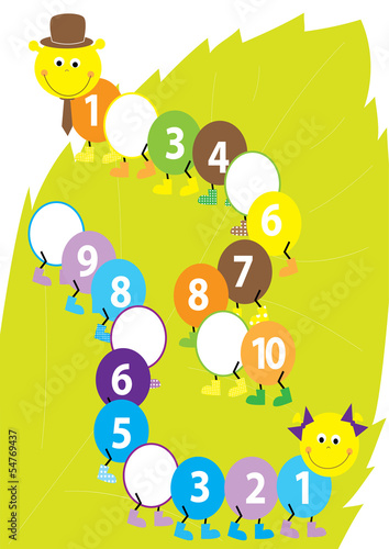 Math catepillars with missing numbers - vector illustration