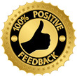 100 percent positive feedback golden label, vector illustration