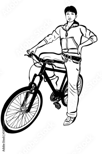 sketch of young girl with a bicycle