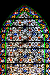 Colourful seamless stained glass in Chusclan, France