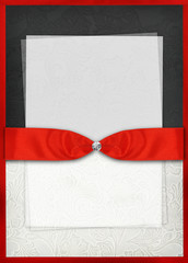 Vintage style invitation card with red bow
