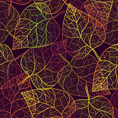 Autumn transparent leaves pattern background.