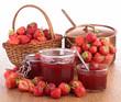 strawberry jam, wicker basket and casserole