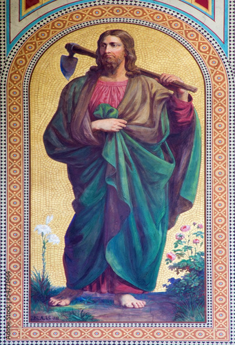 Vienna - Fresco of Jesus Christ as gardener