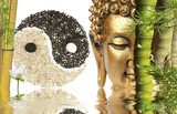 Fototapety décor zen : Bouddha, bambou, symbole yin yang