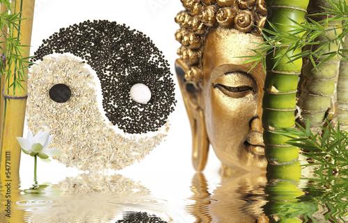 décor zen : Bouddha, bambou, symbole yin yang