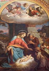 Vienna - Fresco of Nativity in Altlerchenfelder church