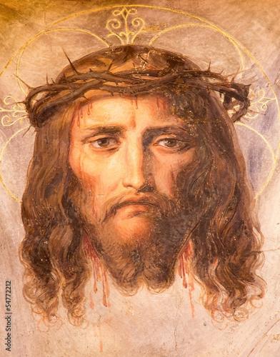 Fototapeta Vienna - Fresco of Jesus Christ in Altlerchenfelder church