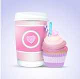 Vector cupcake and coffee for valentine's day