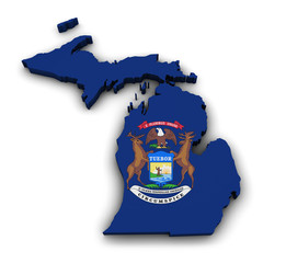 Michigan Map Flag Shape