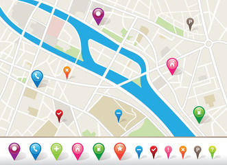 City Map With GPS Pins Icons