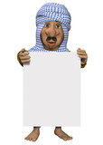 Arabian man, holding a sign